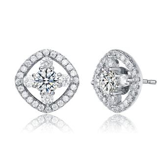 Collette Z Sterling Silver Cubic Zirconia Open Diamond Shape Knob Earrings