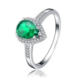 Collette Z Sterling Silver Green Pear Shaped Cubic Zirconia Solitaire Ring