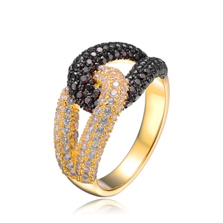 Collette Z Gold Overlay Brown and Clear Cubic Zirconia Knot Ring