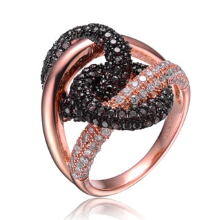 Collette Z Rose Gold Overlay Black and Clear Cubic Zirconia Twist Ring