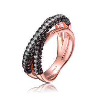 Collette Z Rose Gold Overlay Black Cubic Zirconia Pave Ring - Brown/Black