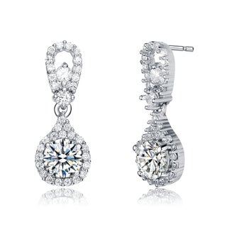 Collette Z Sterling Silver Cubic Zirconia Luminescent Drop Earrings