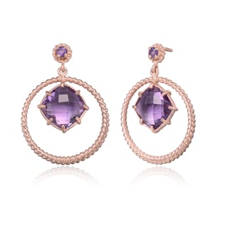 Collette Z Gold Overlay Suspended Purple Cubic Zirconia Earrings