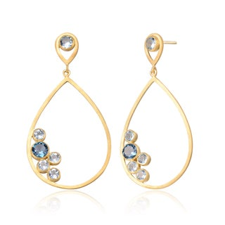 Collette Z Gold Overlay Blue and Clear Cubic Zirconia Accent Oval Earrings