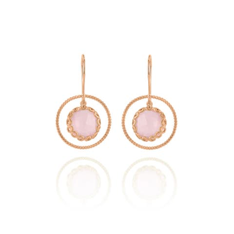 Collette Z Rose Gold Overlay Suspended Pink Stone Earrings - Peach