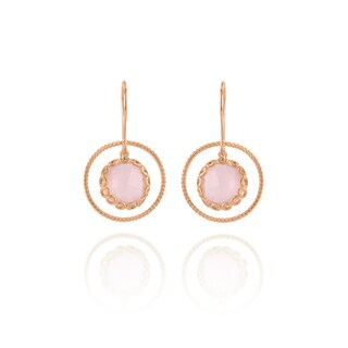Collette Z Rose Gold Overlay Suspended Pink Stone Earrings