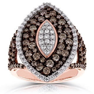 Annello by Kobelli 10k Gold 1 1/2ct TDW Brown and White Diamond Multi Stone Anniversary Ring