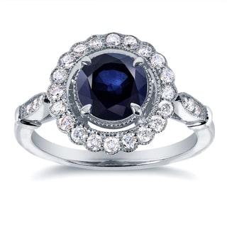 Annello by Kobelli 14k White Gold Sapphire and 1/3ct TDW Diamond Ring (G-H, I1-I2)