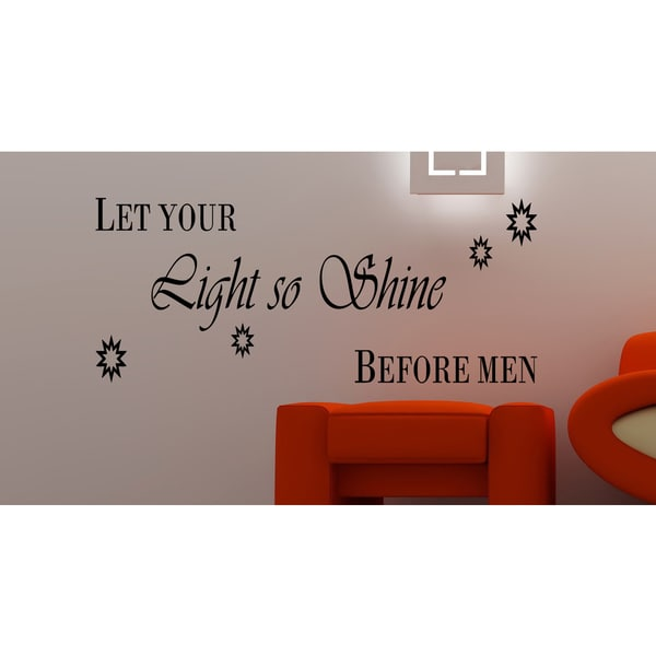 Let Your Light Shine quote Wall Art Sticker Decal