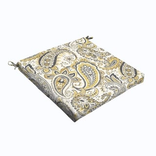 Grey Gold Paisley 20 x 2.5-inch Chair Cushion - Bristol