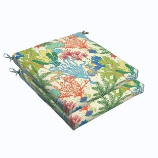 Blue Green Seascape 19 x 2.5-inch Chair Cushion - Bristol (Set of 2)