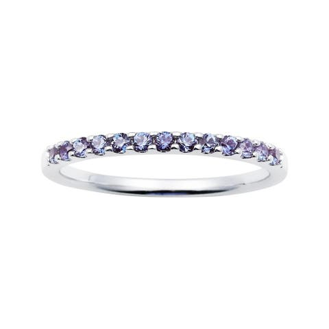 14Karat White Gold Created Alexandrite Stackable Band Ring