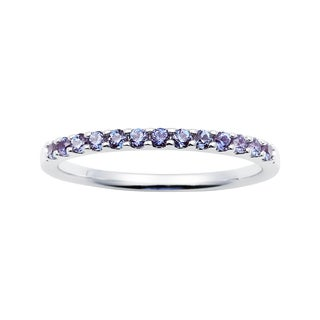 14K White Gold 1.04 Tgw. Created Alexandrite June Birthstone Stackable Band Ring