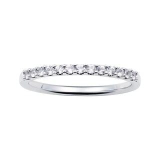 14k White Gold 1.04 Tgw. White Sapphire April Birthstone Stackable Band Ring