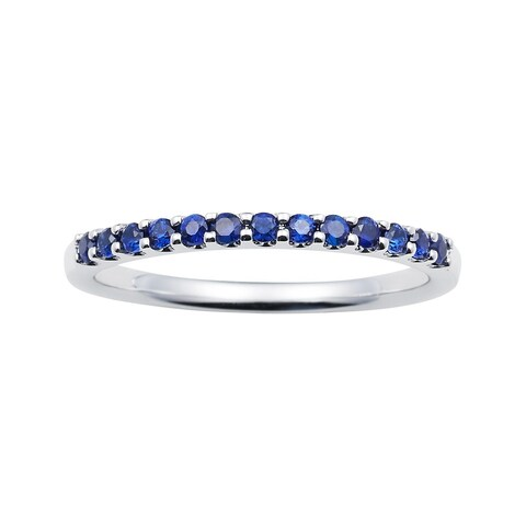 14k White Gold 1.04 Tgw. Sapphire September Birthstone Stackable Band Ring