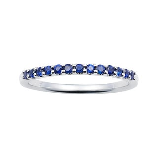 14k White Gold 1.04 Tgw. Sapphire September Birthstone Stackable Band Ring - Blue