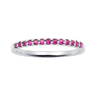 14k White Gold 1.04 Tgw. Ruby July Birthstone Stackable Band Ring - Red