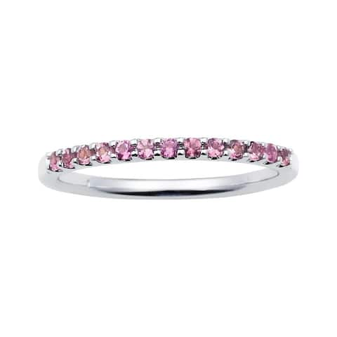 14karat White Gold Pink Tourmaline October Birthstone Stackable Band Ring