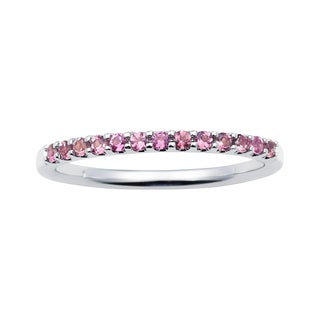 Boston Bay Diamonds 14k White Gold Pink Tourmaline Stackable Band Ring