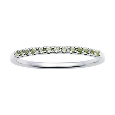 14karat White Gold Peridot August Birthstone Stackable Band Ring
