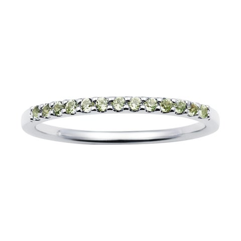 14k White Gold 1.04 Tgw. Peridot August Birthstone Stackable Band Ring