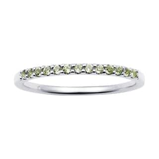 14k White Gold 1.04 Tgw. Peridot August Birthstone Stackable Band Ring - Green|https://ak1.ostkcdn.com/images/products/11549780/P18494421.jpg?impolicy=medium
