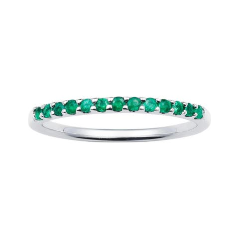 14karat White Gold Emerald May Birthstone Stackable Band Ring