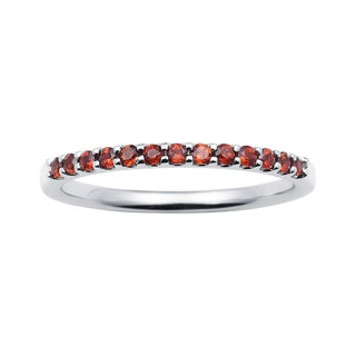 14k White Gold 1.04 Tgw. Garnet January Birthstone Stackable Band Ring - Red
