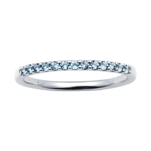 14karat White Gold Aquamarine March Birthstone Stackable Band Ring