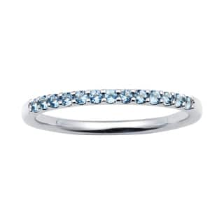 14k White Gold 1.04 Tgw. Aquamarine March Birthstone Stackable Band Ring - Blue|https://ak1.ostkcdn.com/images/products/11549783/P18494438.jpg?impolicy=medium