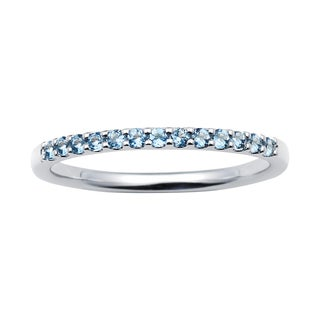 14k White Gold 1.04 Tgw. Aquamarine March Birthstone Stackable Band Ring - Blue