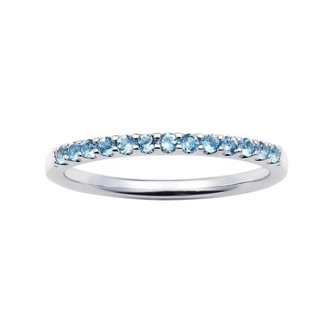 14k White Gold 1.04 Tgw. Blue Topaz December Birthstone Stackable Band Ring