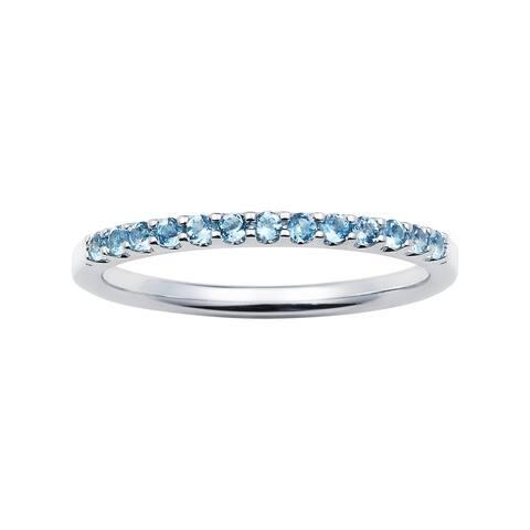 14karat White Gold Blue Topaz December Birthstone Stackable Band Ring