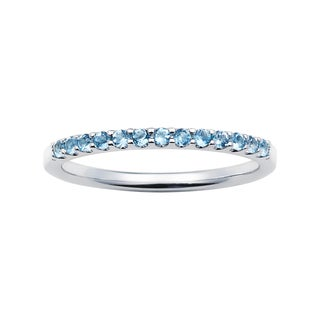 14k White Gold 1.04 Tgw. Blue Topaz December Birthstone Stackable Band Ring