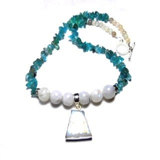 Moonstone Blue Apatite Earring and Necklace Set