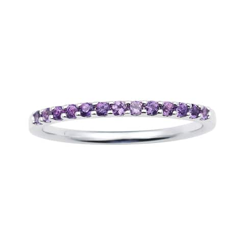 14karat White Gold Amethyst February Birthstone Stackable Band Ring