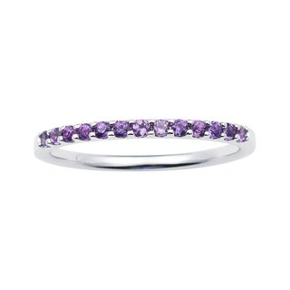 14k White Gold 1.04 Tgw. Amethyst February Birthstone Stackable Band Ring - Purple