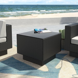 Park Terrace Textured Black Weave Patio End Table