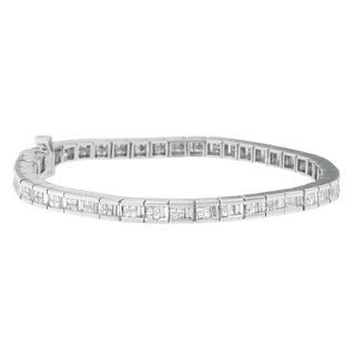 14k White Gold 4 3/5ct TDW Baguette and Princess-cut Diamond Bracelet (G-H, SI2-I1)