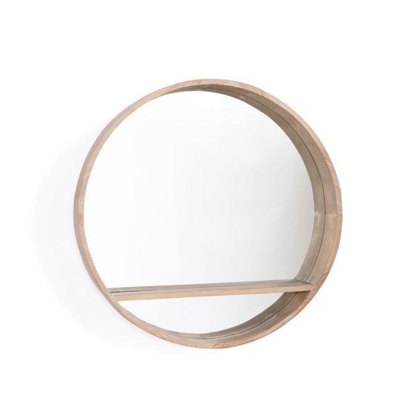 Handcrafted Shelfed Round Mirror