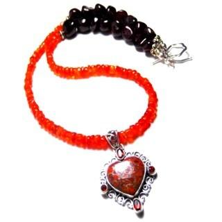 Orange Heart Pendant Garnet/ Carnelian Necklace
