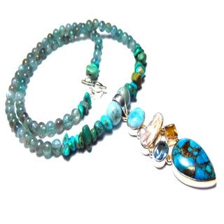 Blue Turquoise with Apatite and Larimar Toggle Necklace
