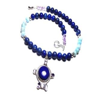 Blue Lapis Lazuli Larimar Necklace