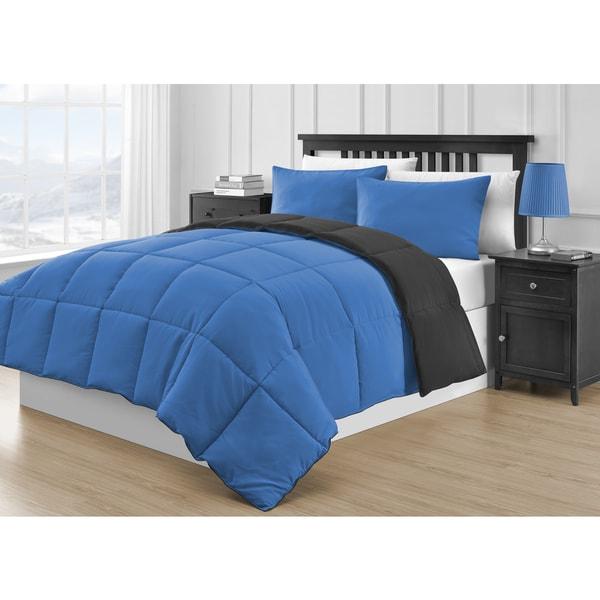 Reversible Black and Blue 3-piece Comforter Set