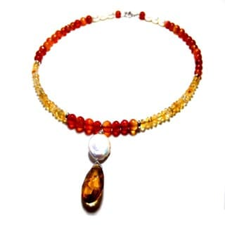 Cognac Citrine and Pearl Carnelian Choker Necklace