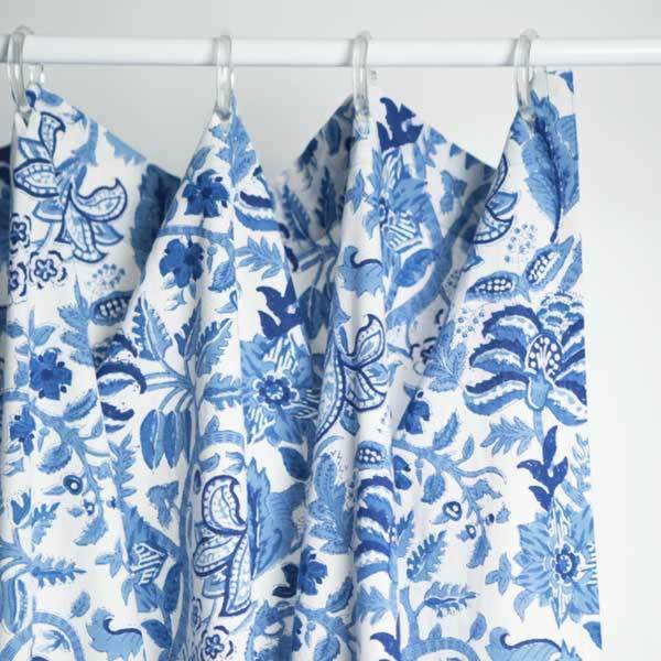 Shop Block Printed Indigo Vine Shower Curtain India