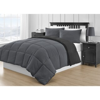 Comfy Bedding Reversible Black & Gray 3-piece Comforter Set
