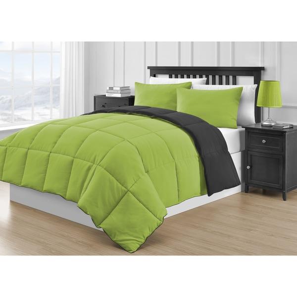 Comfy Bedding Reversible Black Lime Green 3 Piece Comforter Set
