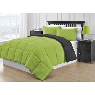 Comfy Bedding Reversible Black & Lime Green 3-piece Comforter Set