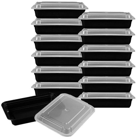 Premium Meal Prep Black and Clear Food Containers with Lids (Set of 12)